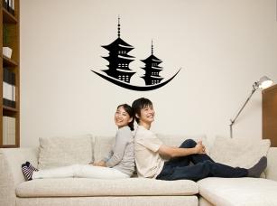 Japonské pagody samolepka na zeď