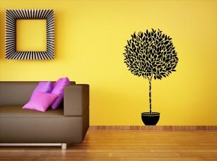 Strom v květináči samolepka na zeď