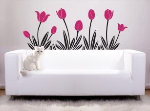 Tulipány samolepka na zeď
