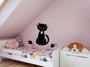 Kočka a myš samolepka na zeď