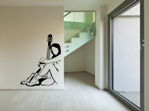 Kytaristka samolepka na zeď
