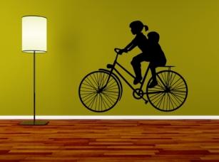 Děti na kole samolepka na zeď