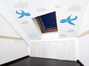 Letadla s mráčky samolepka na zeď