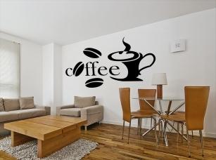 Čerstvá káva samolepka na zeď