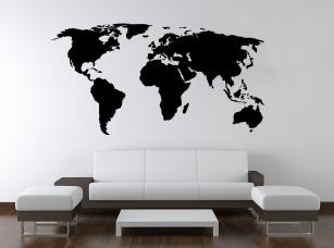 Mapa světa samolepka na zeď