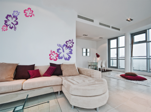 Ibiškové květy  samolepka na zeď