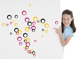 Barevné bublinky samolepka na zeď